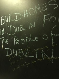 A bathroom wall at a pub in Dublin.